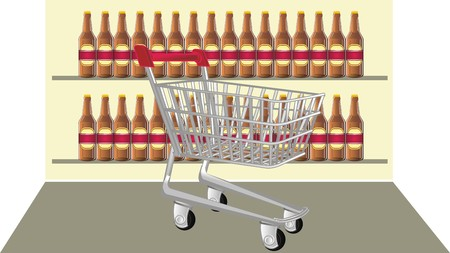 shopping trolley and beer