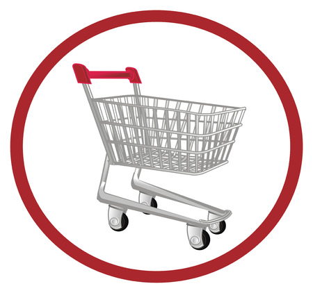 market trolley on red sign Stock Photo