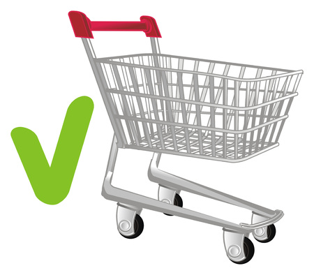 shopping trolley and green sign Stock Photo