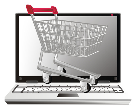 shopping trolley peel up from laptop Stock Photo