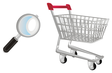 market trolley with magnifier