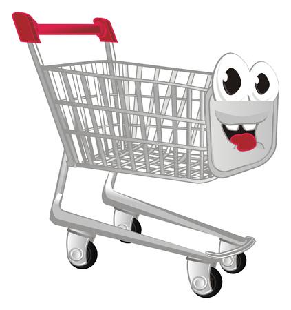happy shopping trolley Stock Photo