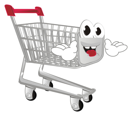 funny market trolley with hands Stock Photo