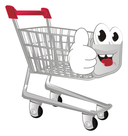 smiling shopping troleyw ith class gesture