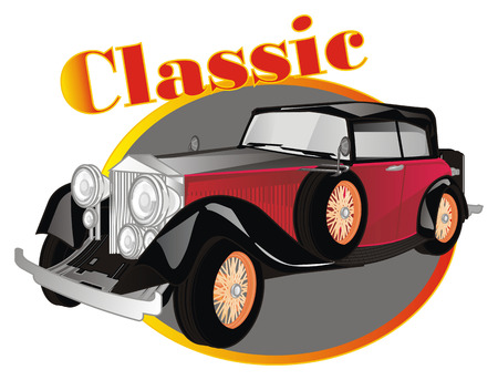 classic car and banner