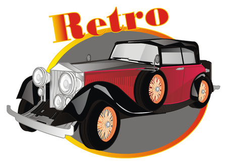 retro car and banner