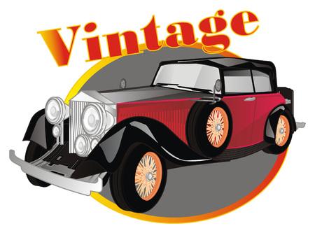 vintage car and banner Banco de Imagens