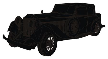 solid black shadow of old car Banco de Imagens