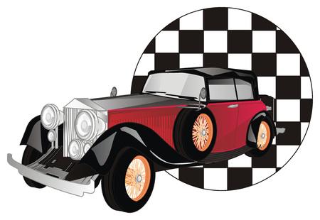 vintage car and flag of finish Banco de Imagens