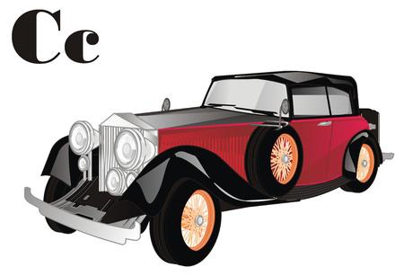 old car with letters c Banco de Imagens