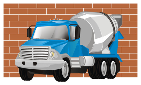 blue cement truck and wall Banco de Imagens