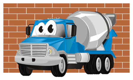 funny cement truck and wall