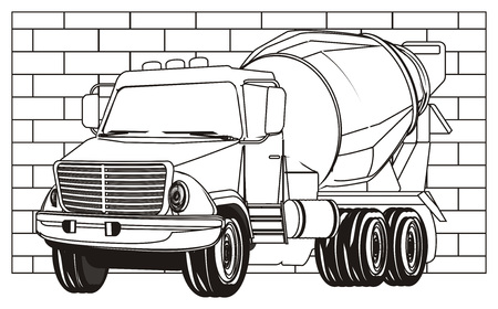 coloring cement truck and wall