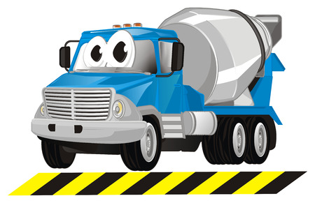 funny cement truck and line Banco de Imagens
