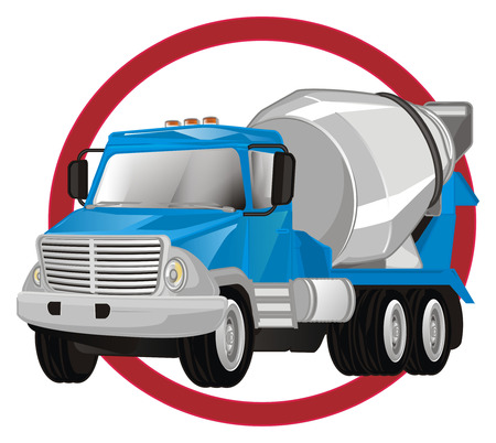 cement truck on red sign Banco de Imagens