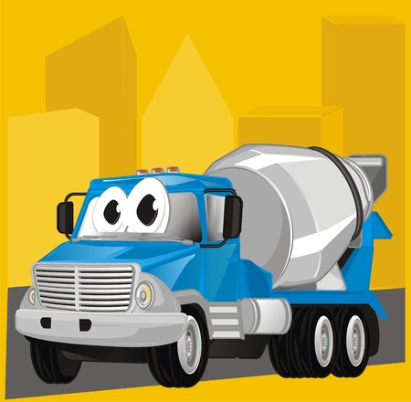 funny cement truck and building