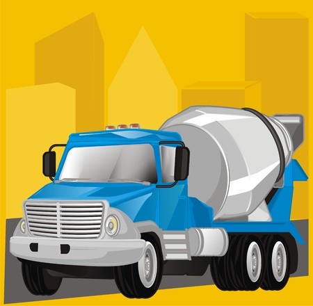 cement truck and building place
