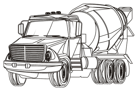 black and white cement truck