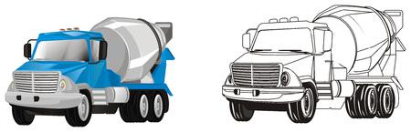 colored and coloring cement trucks Banco de Imagens