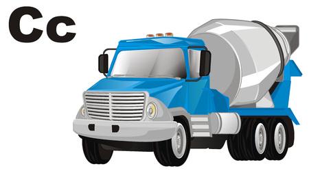cement truck and letters c Banco de Imagens