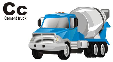 cement truck and abc Banco de Imagens