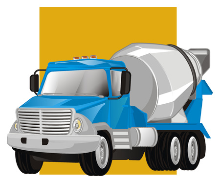 cement truck and yellow line