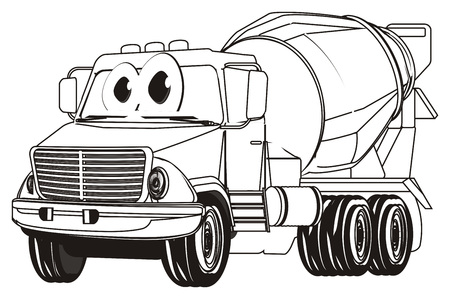 coloring funny cement truck Banco de Imagens