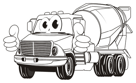 coloring cement truck with gesture