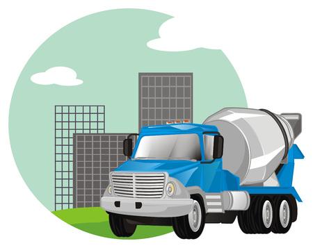cement truck and city icon Banco de Imagens