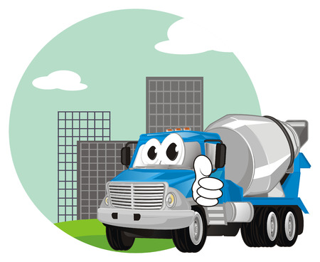funny cement truck on city show gesture