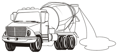 coloring cement truck with puddle Banco de Imagens