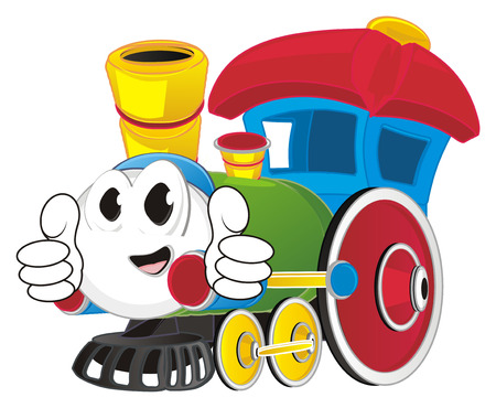 happy toy train with class gesture