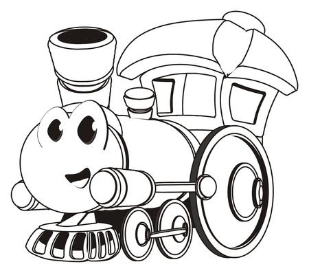 coloring funny toy train Banco de Imagens