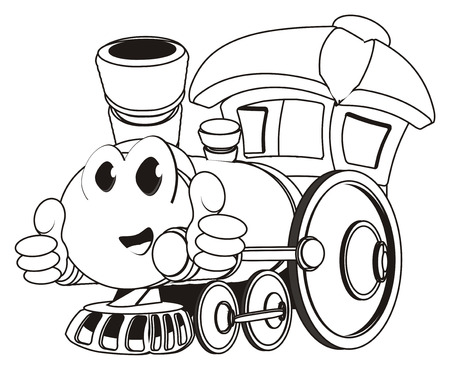 coloring happy toy train with gesture