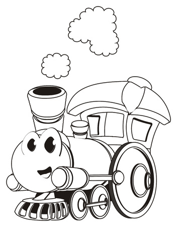 coloring happy toy train