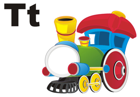 toy train and letters t