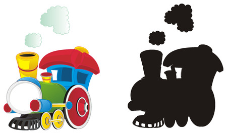 colored and solid black toy trains