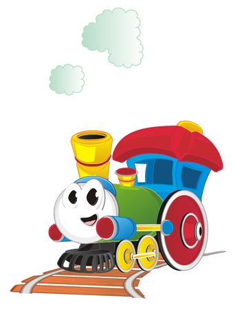 funny toy train on road