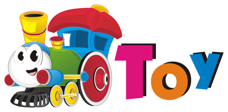 happy toy train and word