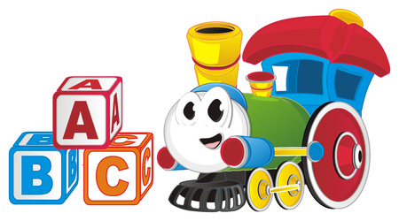 funny toy train with cubs Banco de Imagens