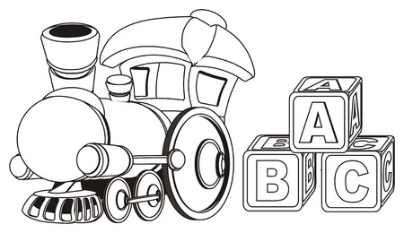 coloring toy train and cubs