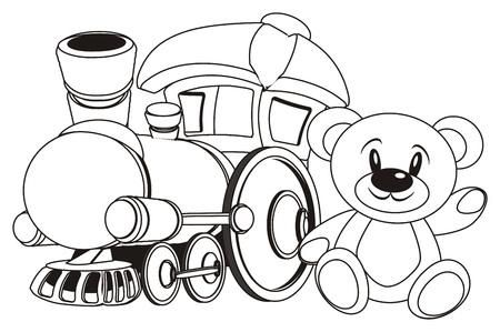 coloring toy train with teddy bear Banco de Imagens