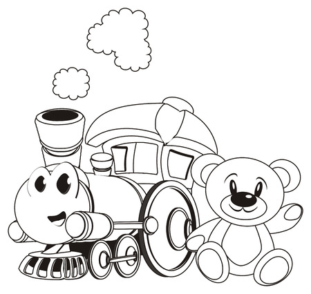 coloring happy toy train with bear