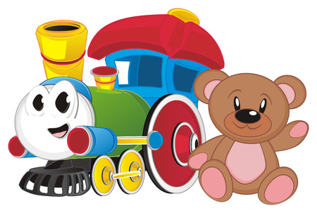 happy toy train with bear