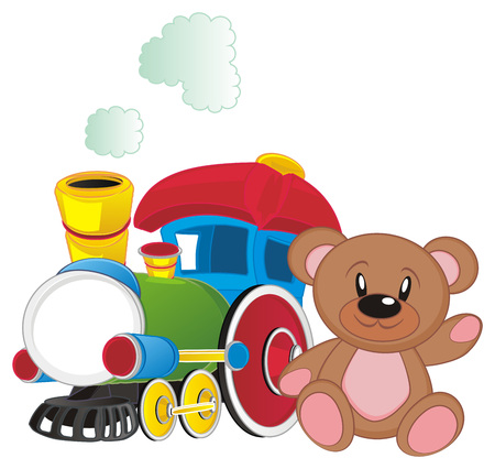 toy train with teddy bear