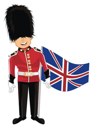 guardsman with flag Stock Photo