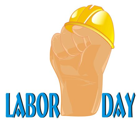 labor day and hand with helmet Stock Photo - 124964621