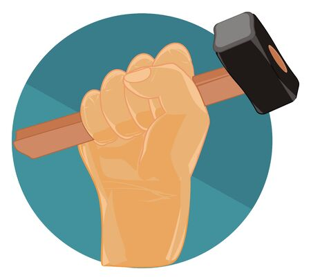 fist with hammer on icon