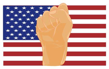 fist and flag