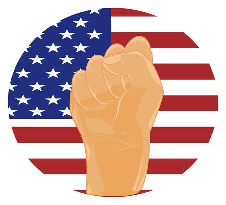 fist and USA flag Banco de Imagens - 124964635